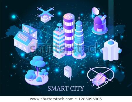 Okos város felhőkarcolók poszter vektor műhold Stock fotó © robuart