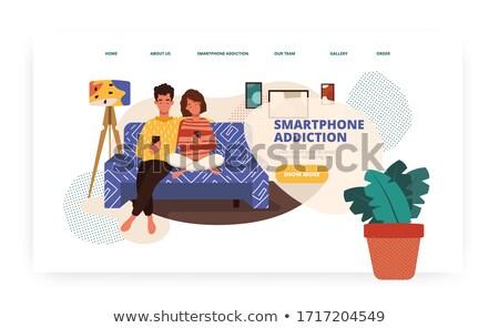 écran dépendance atterrissage page gens d'affaires Photo stock © RAStudio