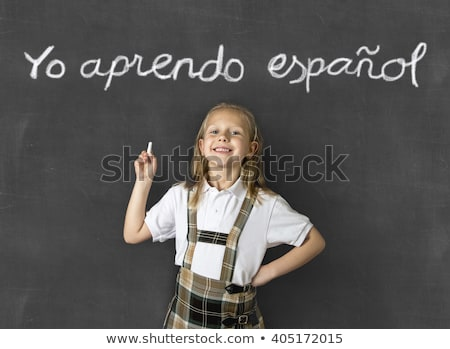 Girl In Front Of Chalkboard With I Love Learning Text Stock photo © AndreyPopov