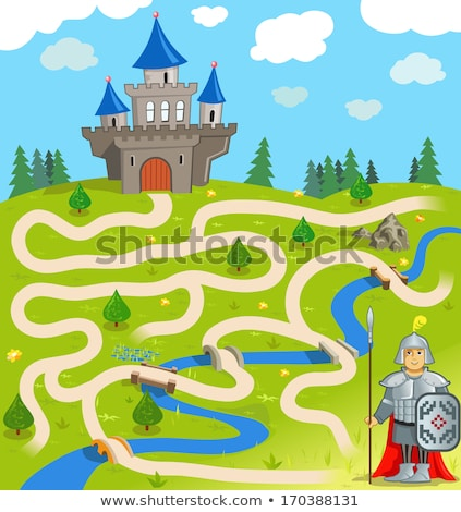 maze game with cartoon fantasy characters Stok fotoğraf © izakowski