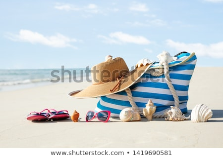 Foto stock: Seashells Arranged In Front Of Handbag On Sand At Beach