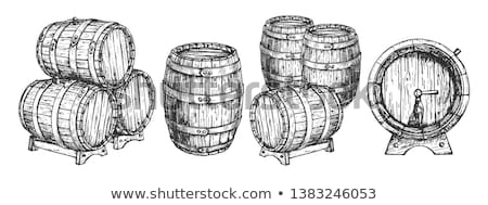 Winery Drawn Wooden Oak Barrel Front View Vector Stock photo © pikepicture