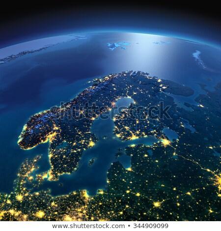 Szczegółowy ziemi noc Europie skandynawia planety Ziemi Zdjęcia stock © Antartis