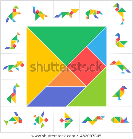 Printable Tangram, puzzle game. Set of shapes for kids activity that helps to learn geometric shapes Stock photo © kyryloff