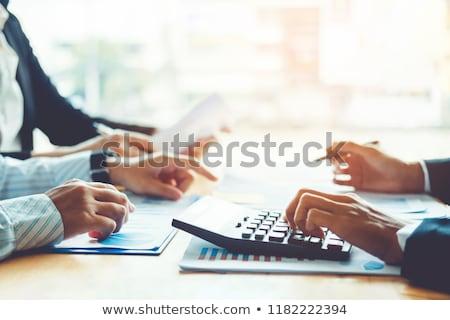 üzletember elemzés számológép új terv pénzügyi Stock fotó © Freedomz
