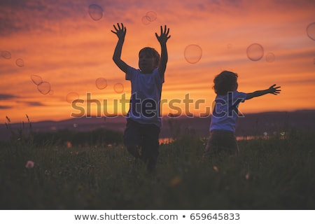 boy hit bubble on a sunset meadow Stock photo © Lopolo