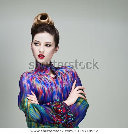 Foto stock: Beleza · moda · modelo · cara · da · mulher · perfeito · lábios · vermelhos