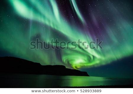 északi fény aurora Izland Reykjavík ház Stock fotó © vichie81