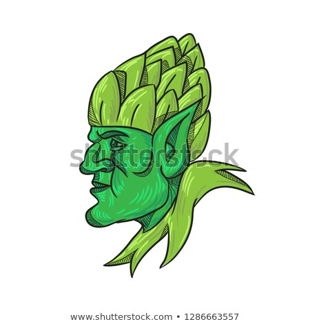 Green Elf Wearing Hops on Head Drawing Stock photo © patrimonio