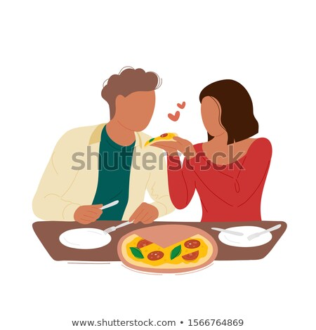 Woman eating pizza from her boyfriend's plate Stock photo © Kzenon