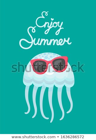 Enjoy Summer Blue Cute Jellyfish Wearing Glasses Stock photo © robuart
