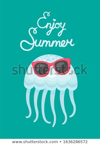 aranyos · meduza · vágási · körvonal · állat · rajz · tengeri - stock fotó © robuart