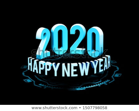 Congratulations on the New Year 2020 in technostyle. Rounded 3D text with HUD elements. Big data. il Stock photo © m_pavlov