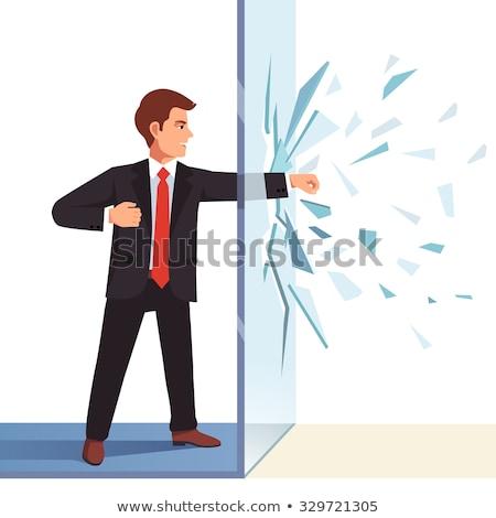 Fighting hands breaking glass Stock photo © ra2studio