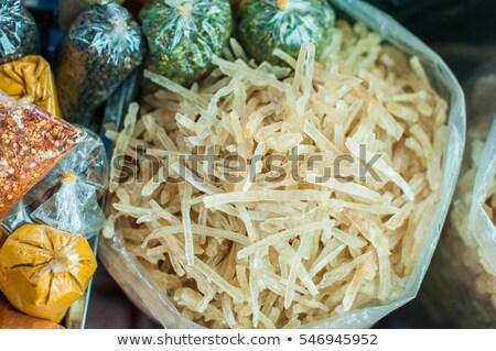 Aszalt kókusz táska piac ázsiai konyha étel Stock fotó © galitskaya