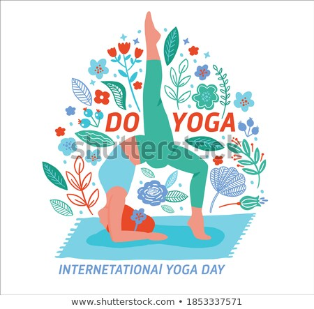 Floral yoga day card of girl doing meditation Stock photo © cienpies