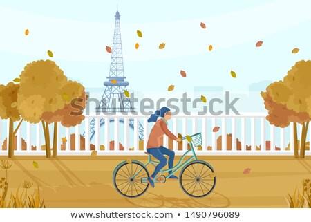 женщину велосипед Париж осень вектора Осенний сезон Сток-фото © frimufilms