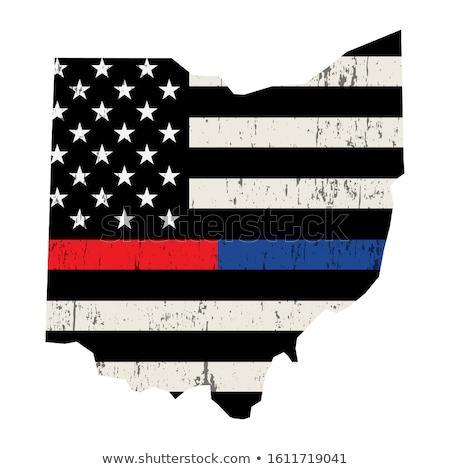 Ohio politie brandweerman ondersteuning vlag illustratie Stockfoto © enterlinedesign