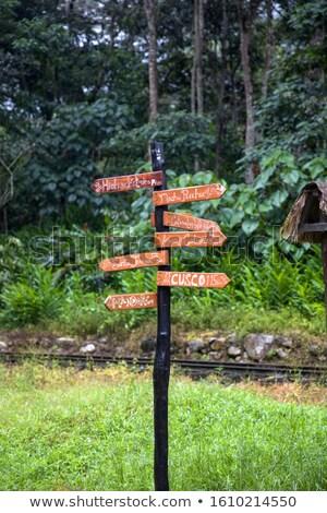 木製 標識 マチュピチュ ペルー 表示 木材 ストックフォト © boggy