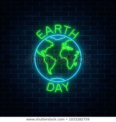 Föld neonreklám ökológia promóció fa fény Stock fotó © Anna_leni
