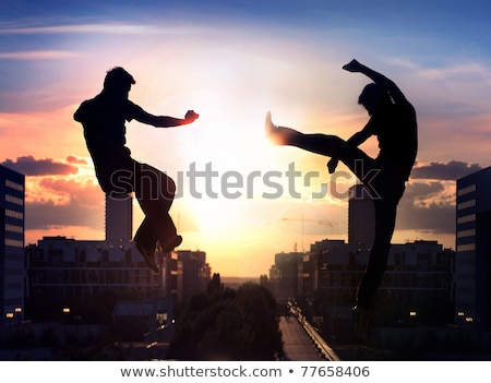 Stock photo: Two ninjas battling