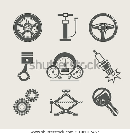tire and jack icon vector outline illustration Stock photo © pikepicture
