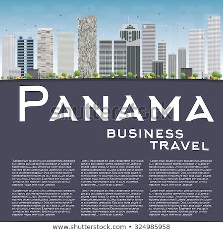 Panama City skyline with grey skyscrapers, blue sky and copy spa Stock photo © ShustrikS