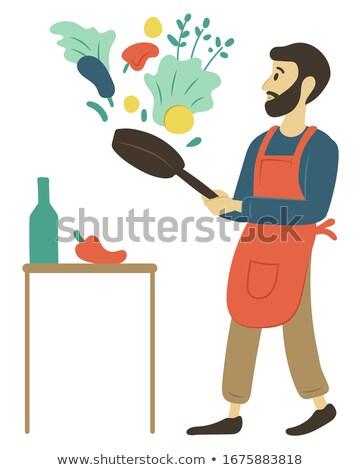 Hobbi főzés férfi serpenyő hozzávalók személy Stock fotó © robuart