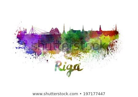 Abstract Riga Skyline with Color Landmarks.  Stock photo © ShustrikS