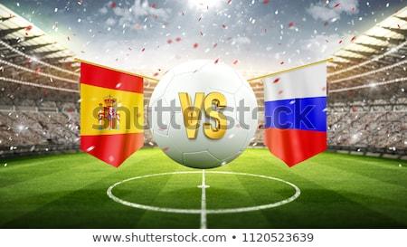 Spanje vs Rusland voetbal wedstrijd illustratie Stockfoto © olira