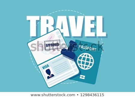 Otwarte obcy paszport międzynarodowych wizy znaczków Zdjęcia stock © evgeny89