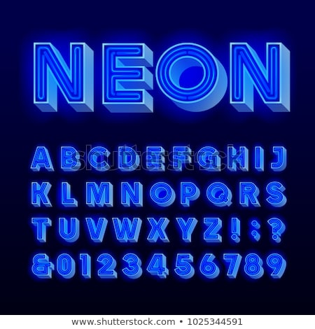 Bright blue realistic neon letters, vintage punctuation signs on transparent Stock photo © evgeny89