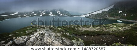 Young admiring the natural beauty of a glaciar lake in Swiss Alp Stock photo © lightpoet