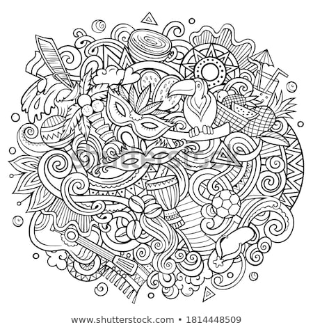 Brasilien Hand gezeichnet Karikatur Kritzeleien Illustration funny Stock foto © balabolka