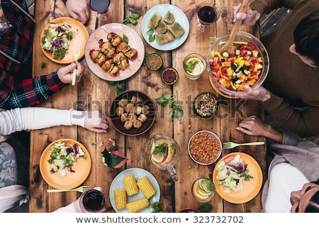 Akşam yemeği kadın yemek içmek limonata Stok fotoğraf © Illia