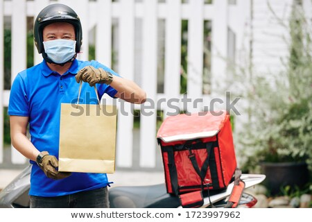 Home delivery food grocery delivered with gloves for COVID-19 quarantine from coronavirus social dis Stock photo © Maridav