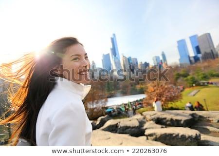 New York City asiático mulher caminhada inverno Central Park Foto stock © Maridav