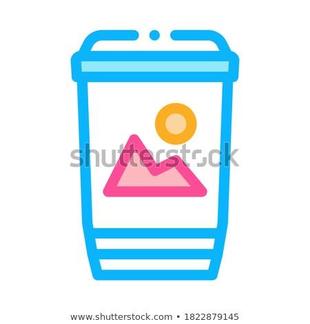 Imprimé papier tasse étiquette icône vecteur Photo stock © pikepicture