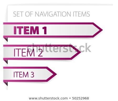 paars · papier · pijlen · moderne · navigatie · witte - stockfoto © orson