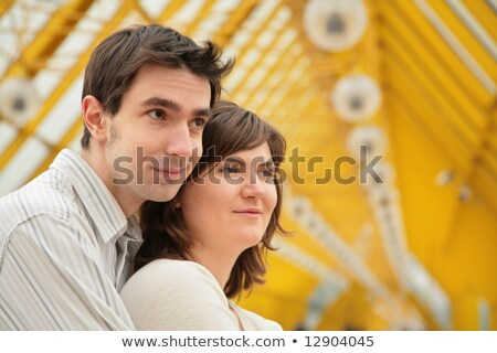 boy embraces girl from back on  footbridge Stock photo © Paha_L