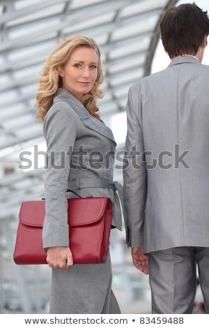 Kadın evrak çantası iş arkadaşı Bina kadın Stok fotoğraf © photography33