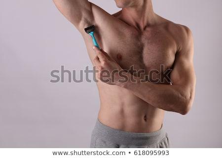 若い男 胸 胴 ゲル かみそり 家 ストックフォト © photocreo
