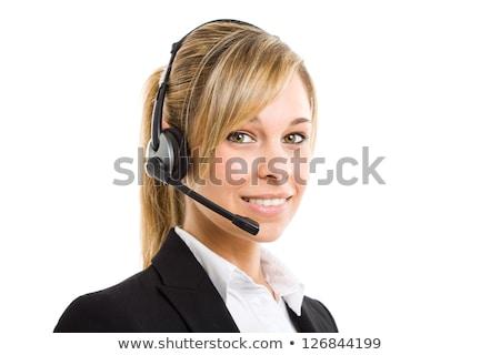 Mooie klant vertegenwoordiger hoofdtelefoon glimlachend telefoon Stockfoto © REDPIXEL