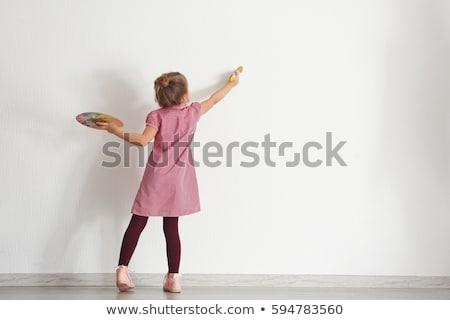 Foto stock: Nina · pintura · sonrisa · escuela · nino · cocina