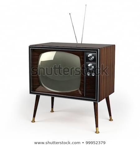 Legno vintage tv classico design bianco Foto d'archivio © creisinger