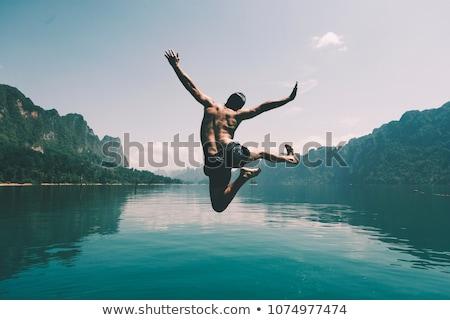 atlama · göl · su · mutlu · uygunluk - stok fotoğraf © feedough