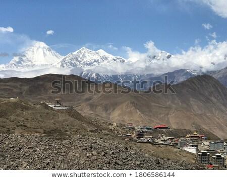 Himalaya landscape: snowed peaks and highland village Stock photo © Arsgera