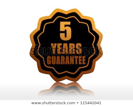 Beş yıl garanti etiket altın metin Stok fotoğraf © marinini