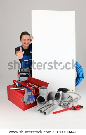 Joyful female laborer with panel and toolbox Stock photo © photography33