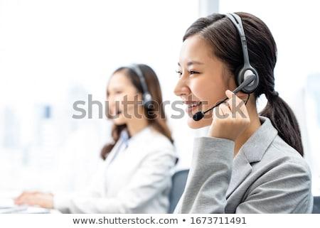 Asiático atendimento ao cliente agente fone isolado branco Foto stock © wavebreak_media